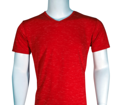 Lycra Vneck Red Front 400x347 - Cotton Lycra V-Neck T-Shirts