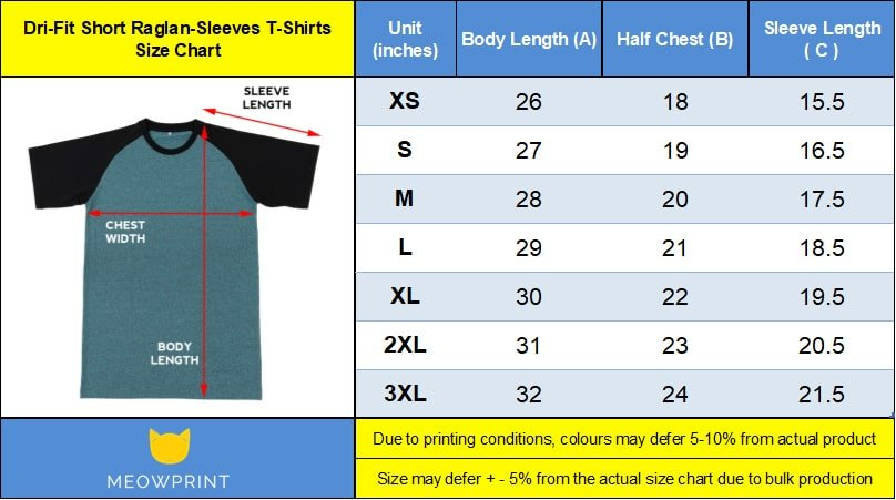 Dri-Fit Short Raglan-Sleeves T-Shirts size chart