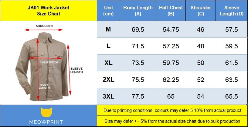 JK01 Work Jacket Size chart