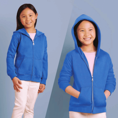 Gildan Youth Zipped Hoodies 2017 catalogue MODEL 1