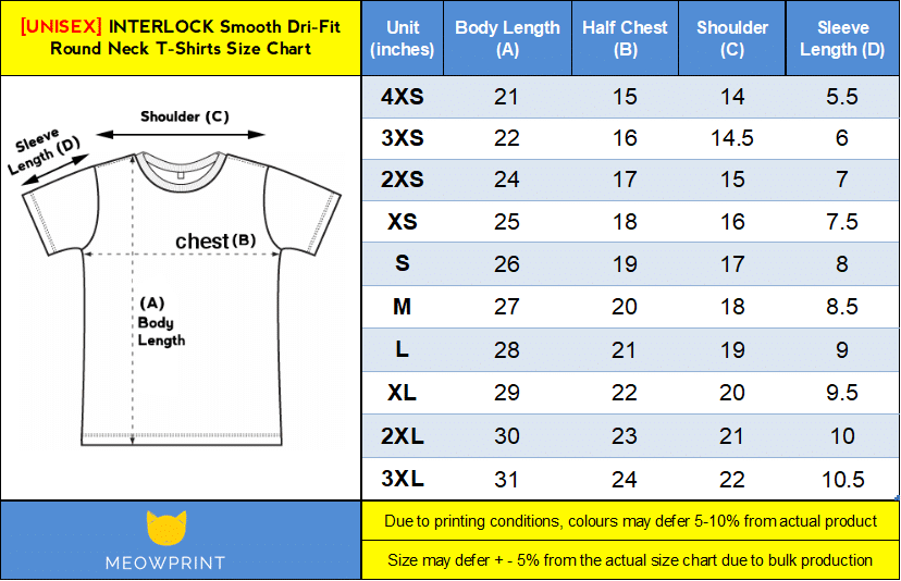 interlock smooth Dri-Fit Round Neck T-Shirts Size Chart