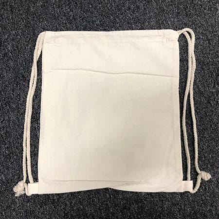 Beige drawstring canvas bag 1