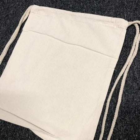 Beige drawstring canvas bag 2