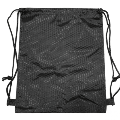 Black hexagon polyester drawstring bag thumbnail