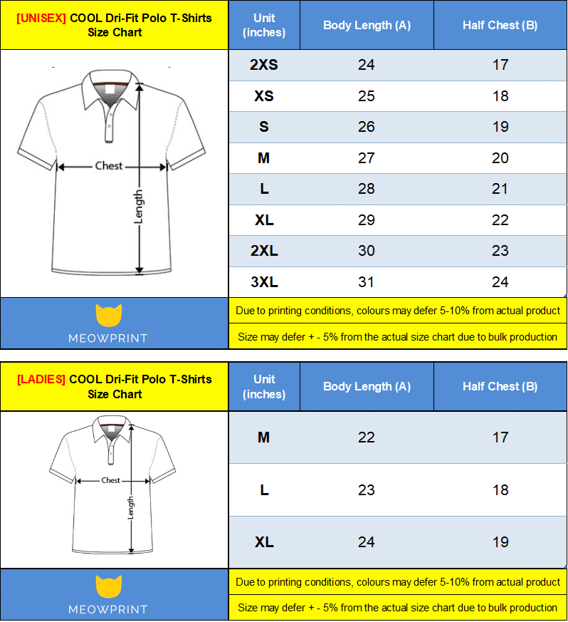 Cool Dri-Fit Polo T Size chart