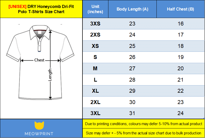 Dry honeycomb dri-fit polo t-shirt size chart