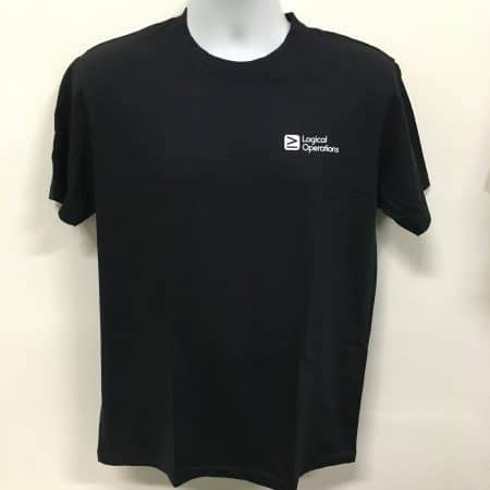Logical Operations - Black basic cotton t-shirt (Front view)