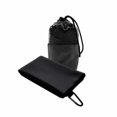 Suede Microfibre Sport Towel in Mesh Pouch BLACK
