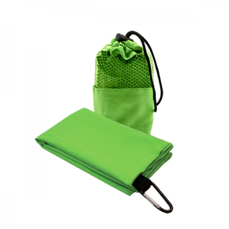 Suede Microfibre Sport Towel in Mesh Pouch GREEN