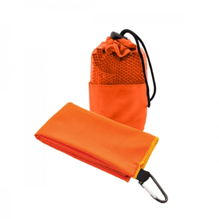 Suede Microfibre Sport Towel in Mesh Pouch ORANGE