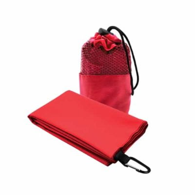 Suede Microfibre Sport Towel in Mesh Pouch RED