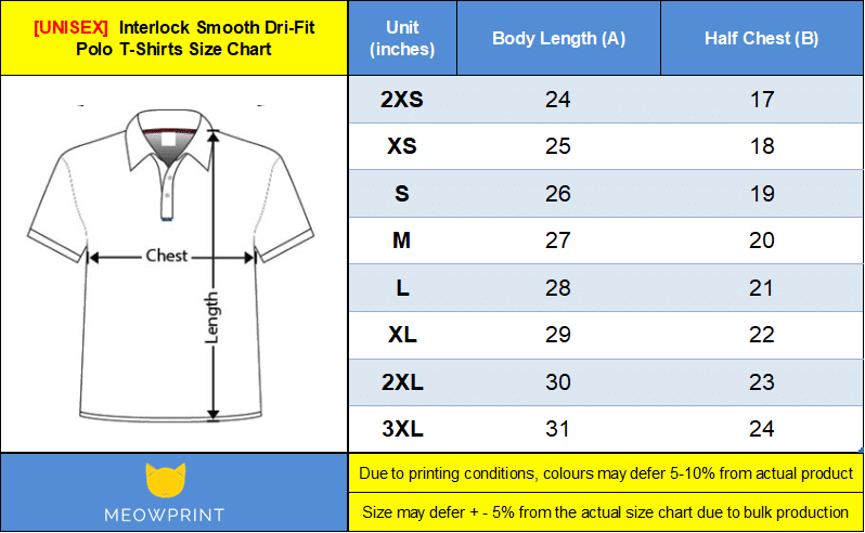interlock smooth dri-fit polo size chart 2018
