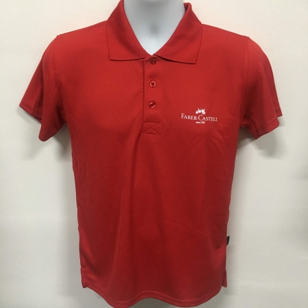 Faber Castell - Red Basic dri-fit polo t-shirt (front view)