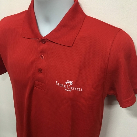 Faber Castell - Red Basic dri-fit polo t-shirt (front angled view)