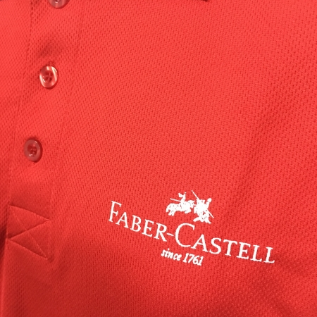 Faber Castell - Red Basic dri-fit polo t-shirt (front chest view)