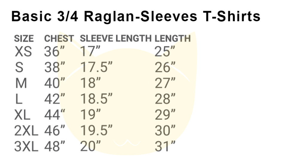 Basic 34 Raglan-Sleeves T-Shirts 2018-19 size chart