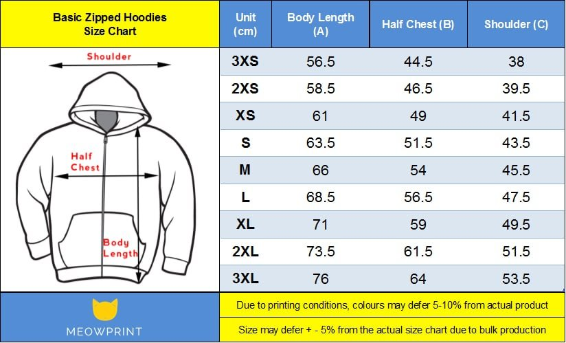 Basic Zipped Hoodies Size chart