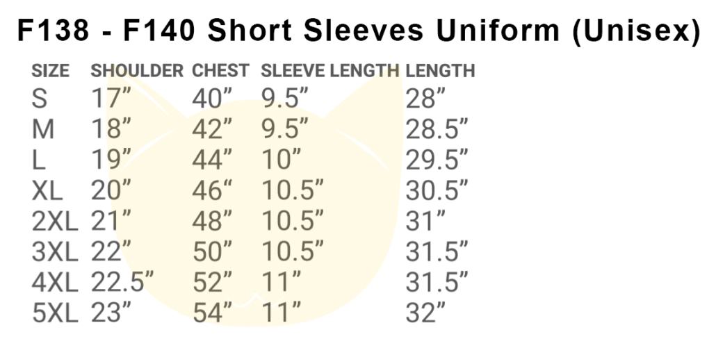 F138-F140 Short Sleeves Uniform 2018-19 size chart