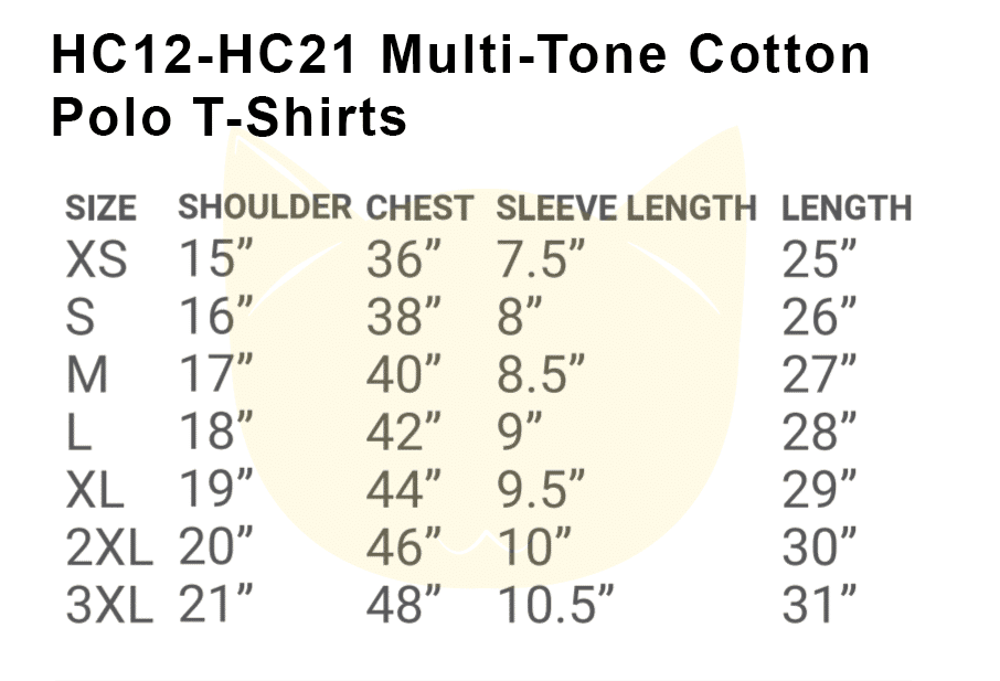 HC12 to HC21 Multi-Tone Cotton Polo 2018-19 Size chart