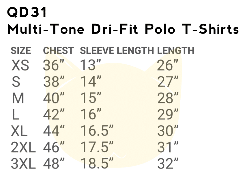 QD31 Multi-Tone Dri-Fit Polo T-Shirts 2018-19 size chart