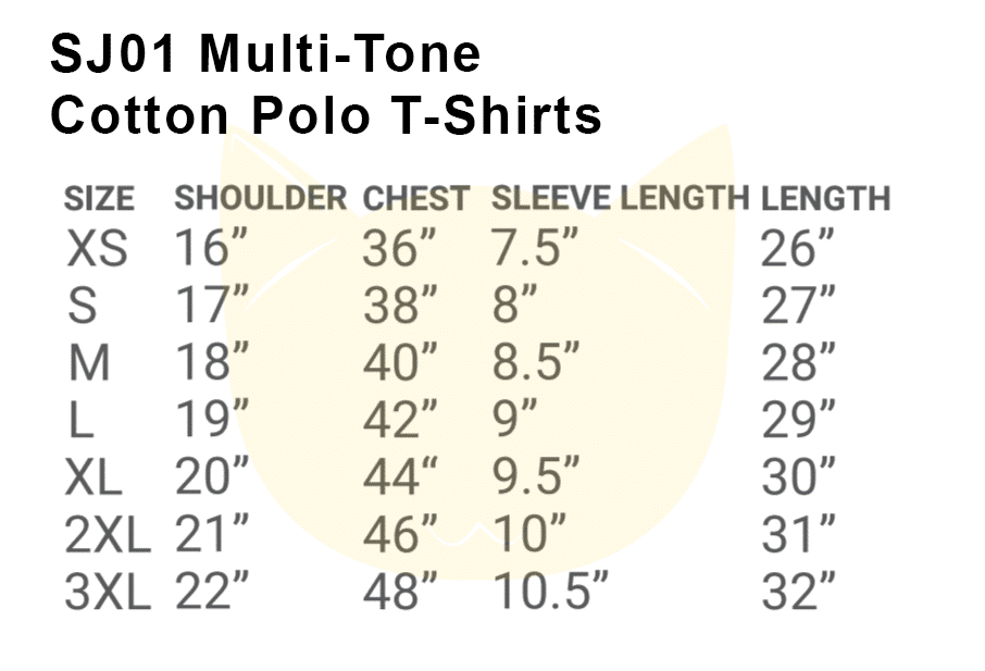 SJ01 Multi-Tone Cotton Polo T-Shirts 2018-19 size chart