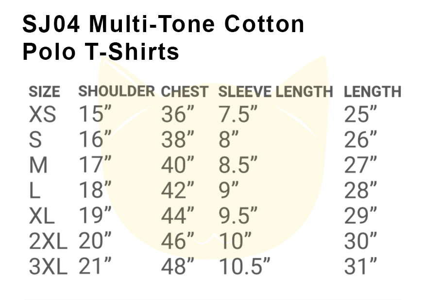 SJ04 Multi-Tone Cotton Polo T-Shirts 2018-19 Size chart