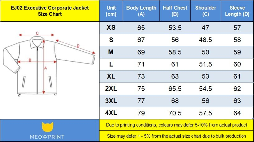 EJ02 Executive Corporate Jacket Size chart