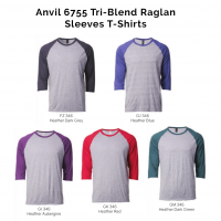 Anvil 6755 Tri-Blend Raglan-Sleeves T-Shirts 2018-19 catalogue