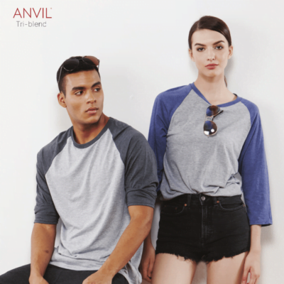 Anvil 6755 Tri-Blend Raglan-Sleeves T-Shirts 2018-19 model 1