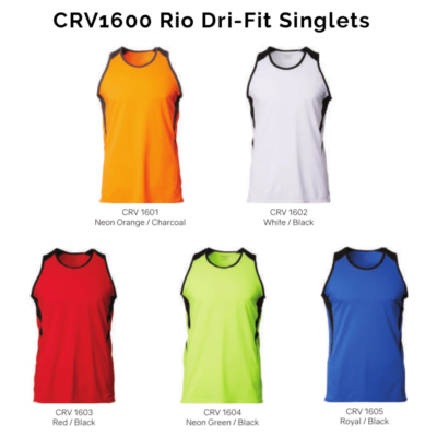 CRV1600 Rio Dri-Fit Singlets 2018-19 catalogue
