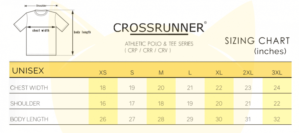 Crossrunner CRR Style XS-3XL 2018-19 Size chart