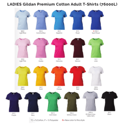 Gildan Premium Cotton Adult T-Shirts 76000 2018-19 LADIES catalogue