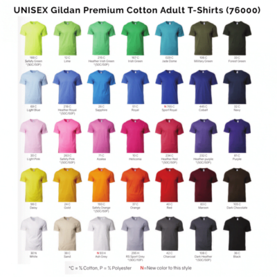 Gildan Premium Cotton Adult T-Shirts 76000 2018-19 unisex catalogue
