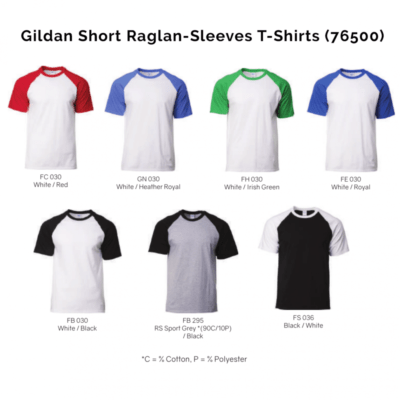 Gildan Short Raglan-Sleeves T-Shirts 76500 2018-19 catalogue