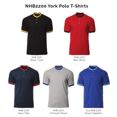 NHB2200 York Polo T-Shirts 2018-19 catalogue