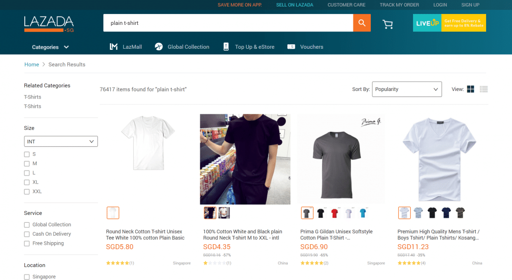 Lazada sg plain T-Shirt search
