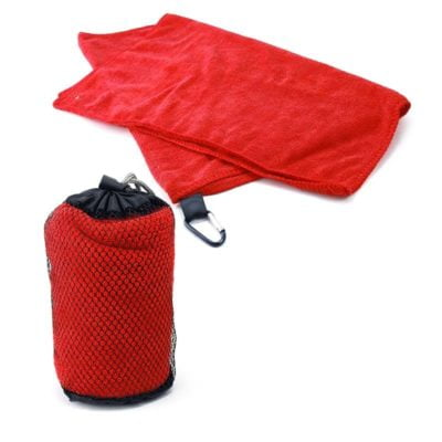 Qvosoft Sports Towel in Mesh Pouch 2018-19 red