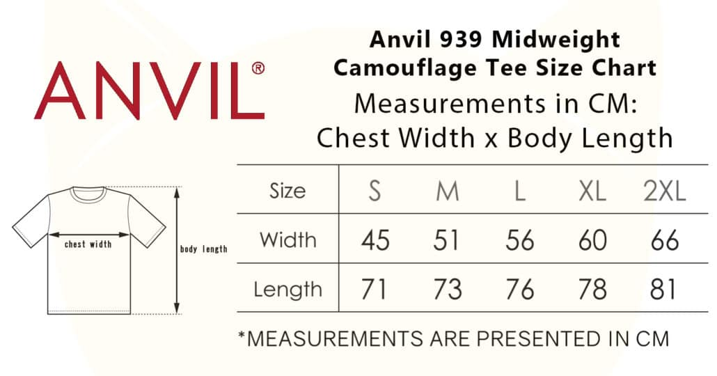 Anvil 939 Midweight Camouflage Tee 2019-20 size chart