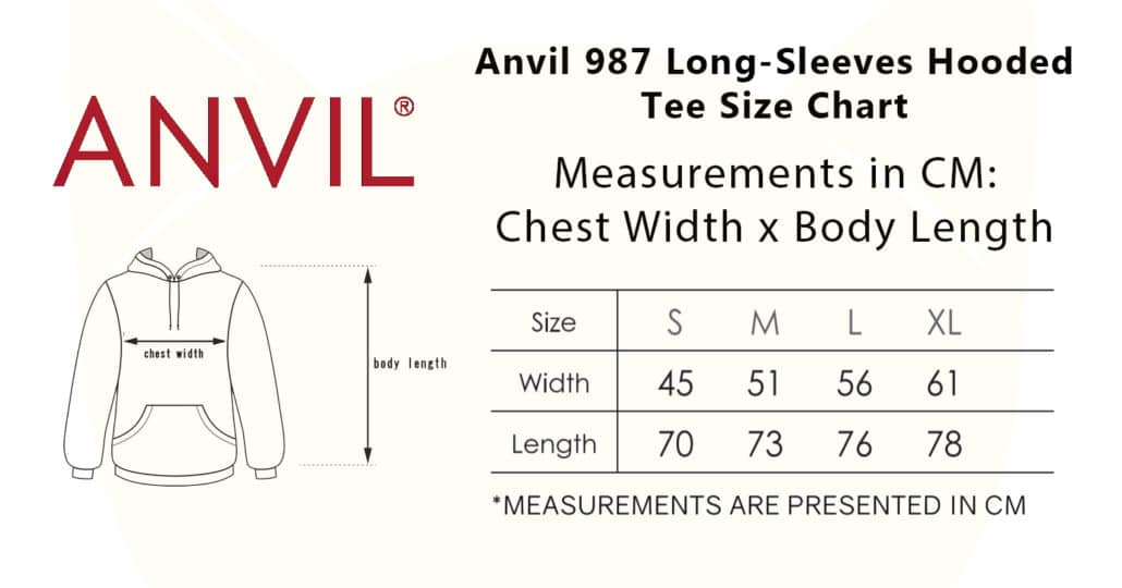 Anvil 987 Long-Sleeves Hooded Tee 2019-20 size chart