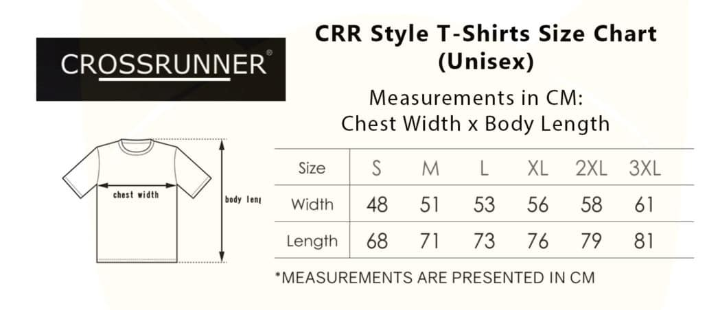 CRR 1100-2300 Style T-Shirt 2019-20 size chart