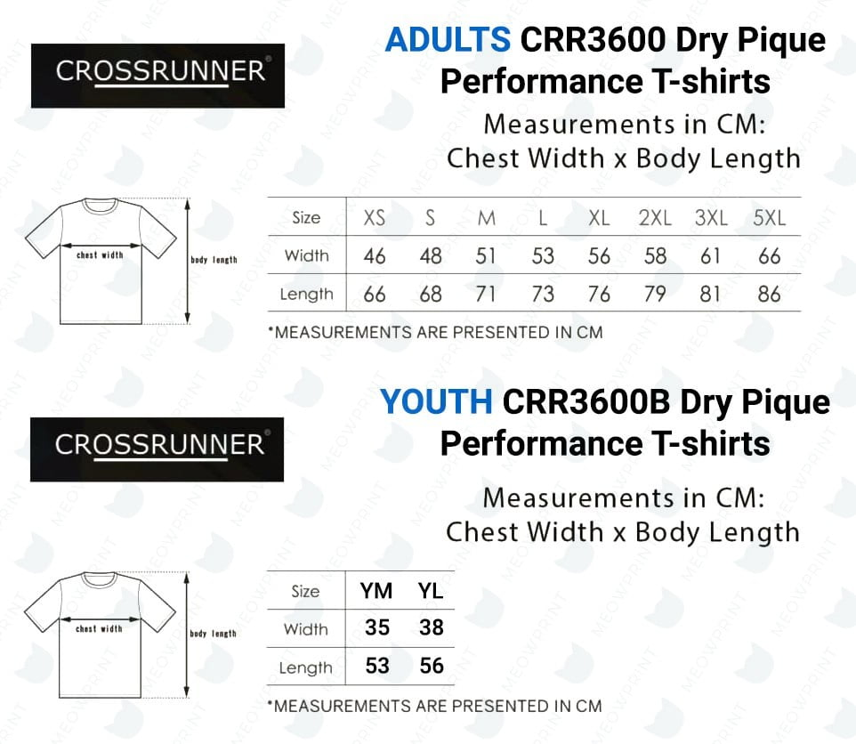 CRR3600 Dry Pique Performance T-shirts 2020 size chart