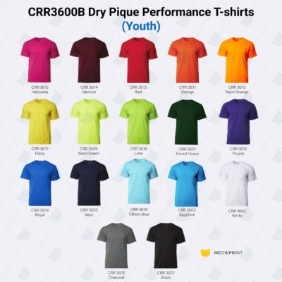 CRR3600B Youth Dry Pique Performance T-shirts catalogue sept 2020