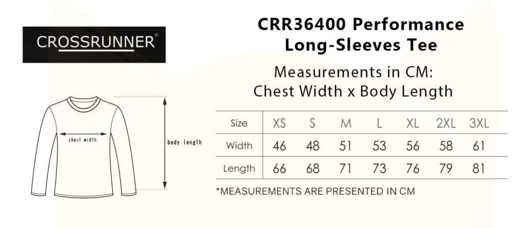 CRR36400 Performance Long-Sleeves Tee 2019-20 size chart