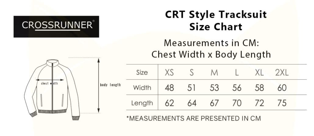 CRT Style Tracksuit 2019-20 size chart