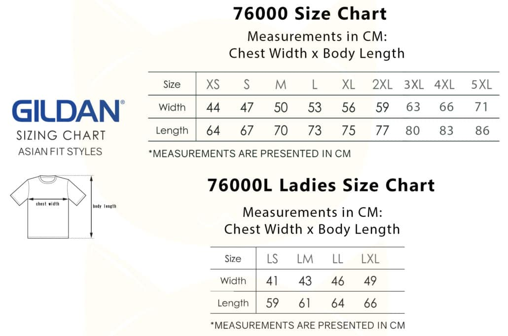 Gildan Premium Cotton Adult T-Shirts 76000 2019-20 SIZE CHART