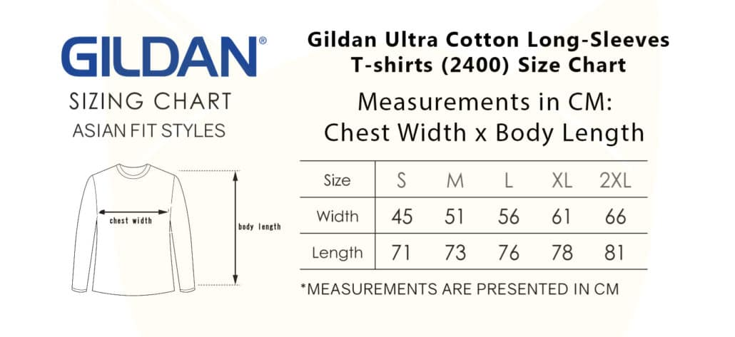 Gildan Ultra Cotton Long-Sleeves T-shirts (2400) 2019-20 size chart