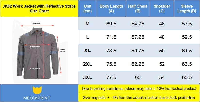 JK02 with reflective strip Work Jacket 2019-20 size chart
