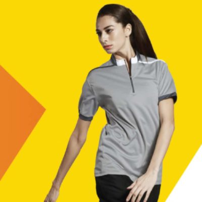 QD41 Multi-Tone Mandarin Collar Polo T-Shirts 2019-20 model 1
