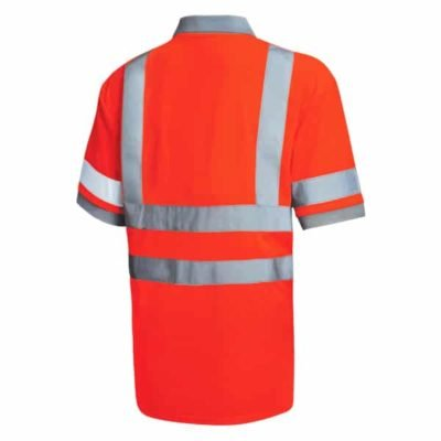 Safety Vest Reflective Polo T Shirt orange back 400x400 - Safety Vest Reflective Polo T-Shirt
