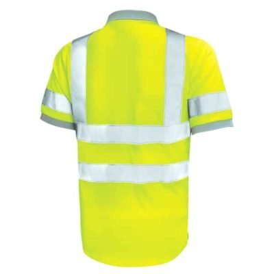 Safety Vest Reflective Polo T Shirt yellow back 400x400 - Safety Vest Reflective Polo T-Shirt